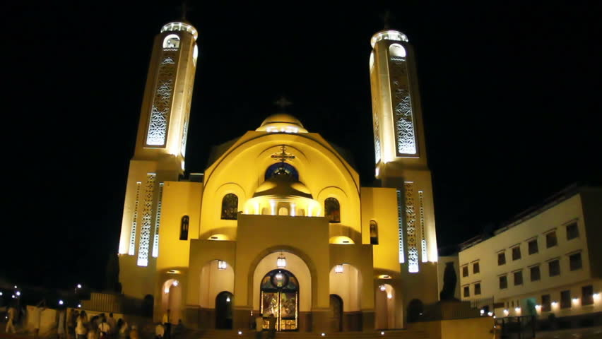 Coptic church at night, Sharm-el-Sheik, Sinai, Egypt.
