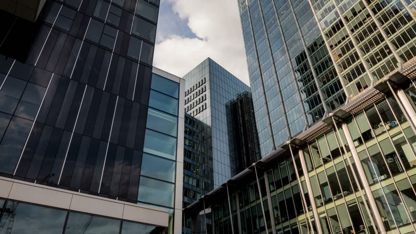 Modern Architecture In London london, uk, - 27 april 2015: low angle video footage looking up at
