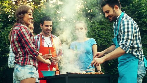 Friends having a barbecue party in nature