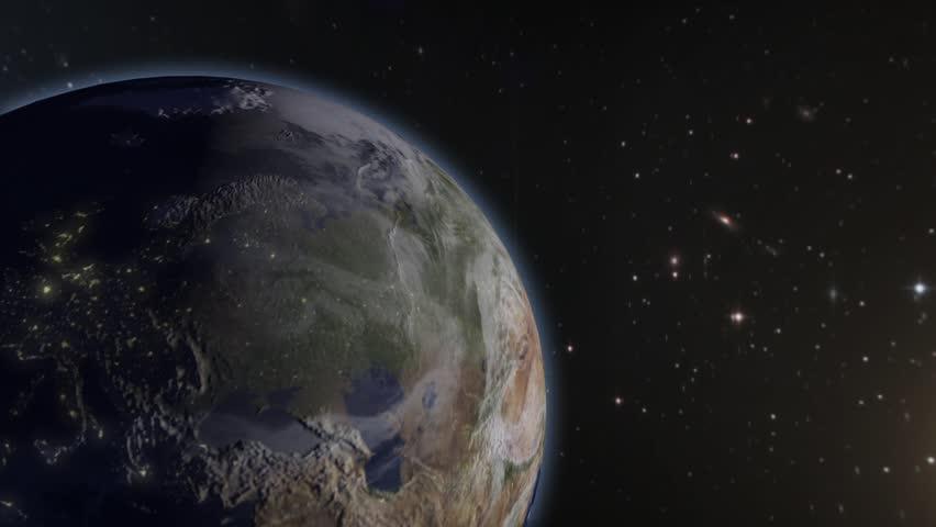 Beautiful Flight Through Space Satellite To Earth Stock Footage - Satellite footage