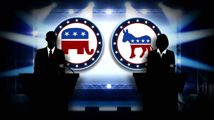 Silhouette People at podium Election Red, white and blue motion graphic  featuring the Democrat and Republican mascots.