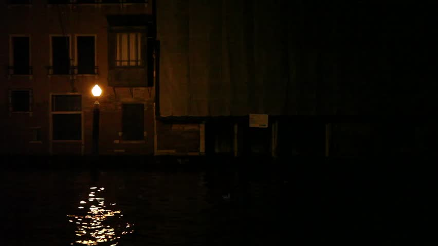 Venice by night, panning shot