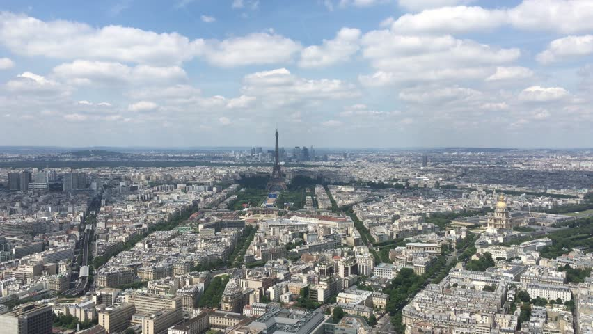 Aerial Shot City of Paris, France 4k. The Montparnasse Tower Panoramic Observation Deck has the most beautiful view of Paris. | Shutterstock HD Video #18523622