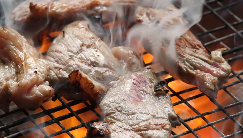 Cooking barbecue steak on the hot grill in camping time, high definition, Full HD, 1920x1080 | Shutterstock HD Video #18530732