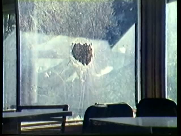 Bullets shattering window