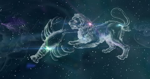 Astrological sign. Zodiac sign replace each other in the night sky. Horoscope. Animation seamless loop. Constellations images of Hevelius engraving from the 17th century.