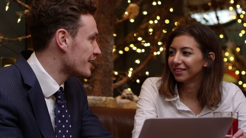 Dinner Party Video Part - 42: Business Colleagues Meeting After Work Shot On R3D - 4K Stock Video Clip