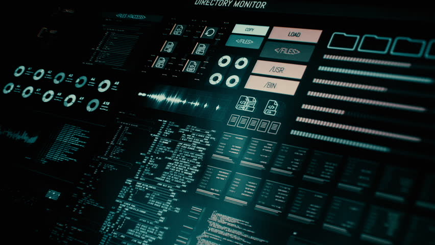 Futuristic digital interface screen / Streaming and flashing computer interface with data on it / Command center | Shutterstock HD Video #18557732
