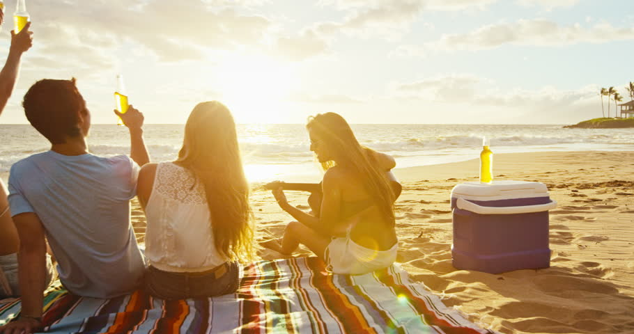 Group of friends having fun enjoying a beverage and relaxing on the beach at sunset | Shutterstock HD Video #18569132