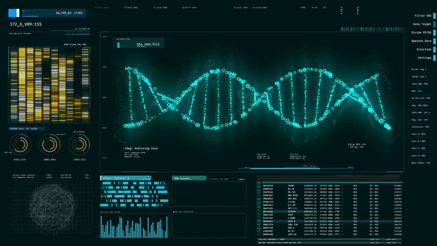 Blue DNA strand rotating on screen, forensic DNA analysis, genetic engineering. DNA molecules analysis, biochemistry, statistics in graphs and charts | Shutterstock HD Video #18576176
