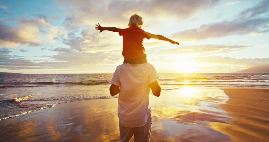 Happy father and son playing on the beach at sunset | Shutterstock HD Video #18597332