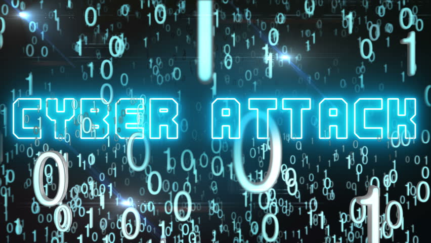 Seamless looping animation with the word Cyber Attack composed into falling bluish binary code | Shutterstock HD Video #18610172