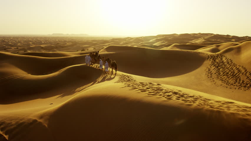 Aerial drone of Arab males in traditional dress leading camels through desert   Shutterstock HD Video #18612509