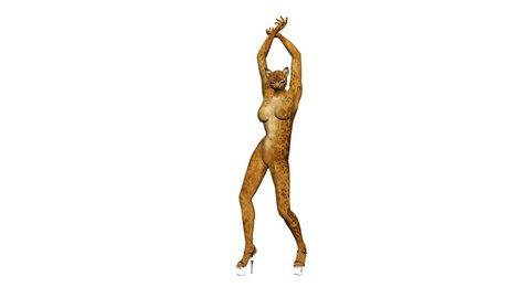 girl big cat dancing