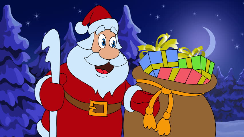 animated new year card with character santa claus and holiday gifts version of the cartoon film in english merry christmas and happy new year