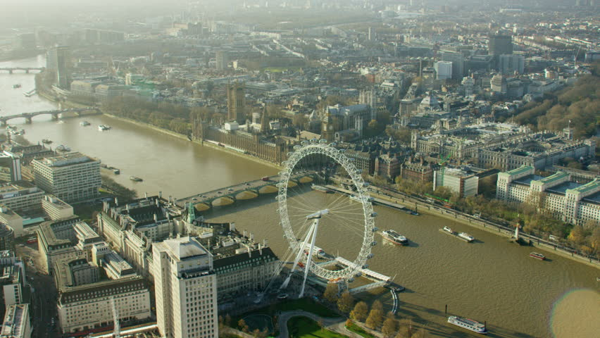 Aerial view of the London Eye and River Thames UK