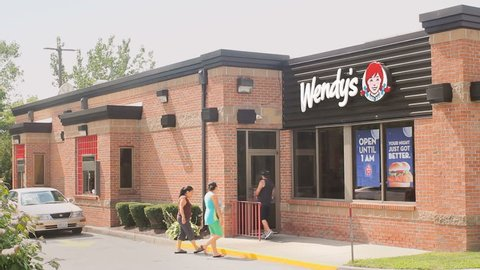 SMITHFIELD, RI - AUG 11: Wendys fast food restaurant open for business on August 11, 2016. Wendy's is the world's third largest hamburger fastfood chain, following Burger King and McDonald's.