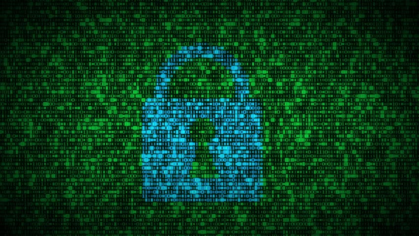 Large lock on a computer screen surrounded by thousands of random data being switched from zero to one. These videos could be a concept of firewall, antivirus protection, encryption software etc.     Shutterstock HD Video #18759752