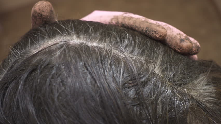 Woman Colors Her Hair at Stock Footage Video (100% Royalty-free ...