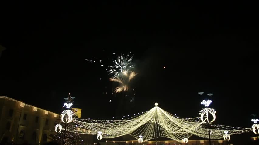 Colorful fireworks in the sky black night above the central square of the city adorned with & NORWALK CA/USA - January 20 2014: A Modern Circus Tent Entrance ...