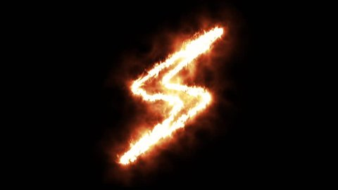 A Lightning Symbol Lighting up and Burning in Flames