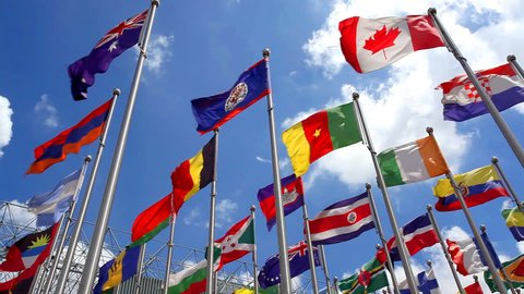 Flags of countries around the world is flying