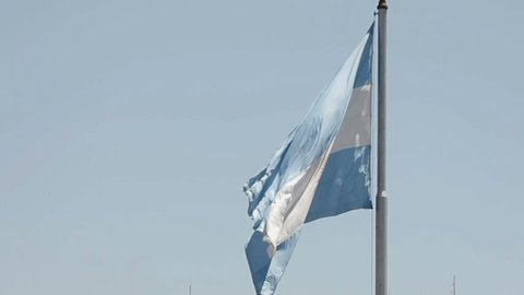 The giant flag of Argentina at the presidential palace in Buenos Aires