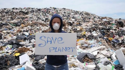Pollution and Environmental Contamination - Woman on Disposal Site
