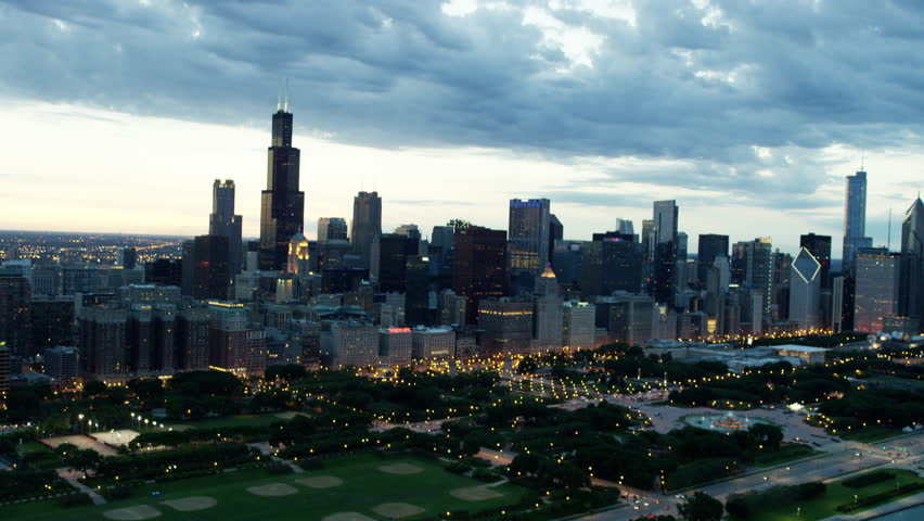 Aerial aerials Chicago Illinois USA sunset night Willis Tower Grant Park Lakeshore Drive cityscape Downtown Business Road car skyscraper building travel RED DRAGON