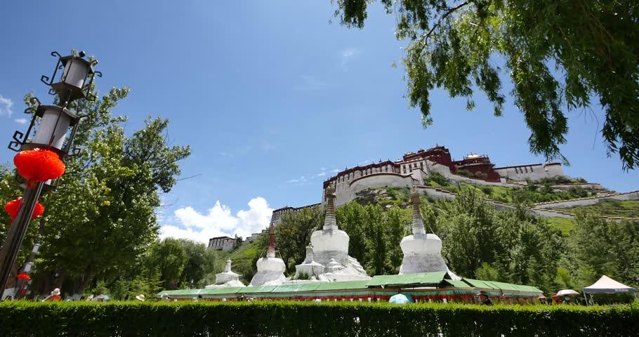 4k Potala & white stupa in Lhasa,Tibet. 4k