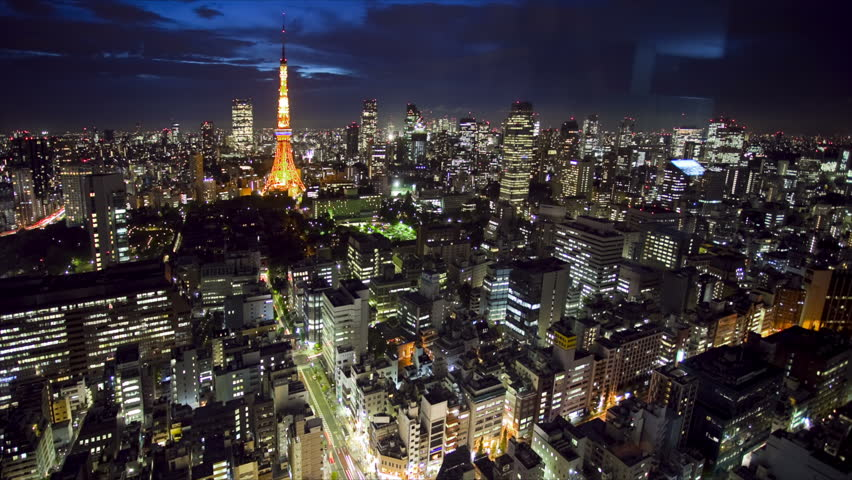 Tokyo Tower and skyline at night, time lapse, Japan | Shutterstock HD Video #1891132