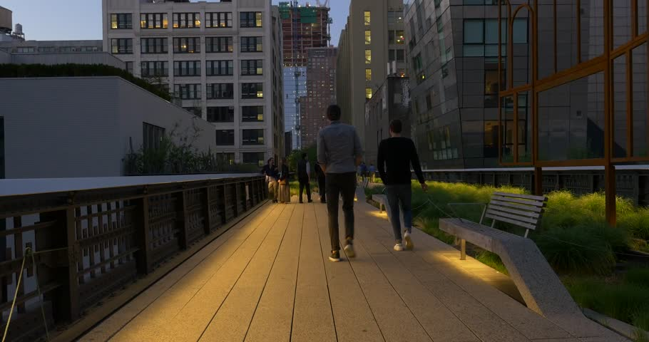 Unidentified People walking on the High Line Park at night. New York City. | Shutterstock HD Video #18918362