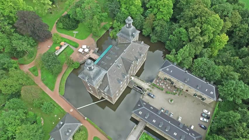 aerial footage of de haar castle in dutch kasteel de haar flying