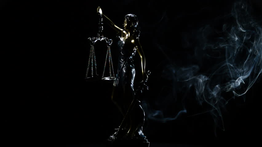 Lady Justice Rotation Over Black Background Stock Footage