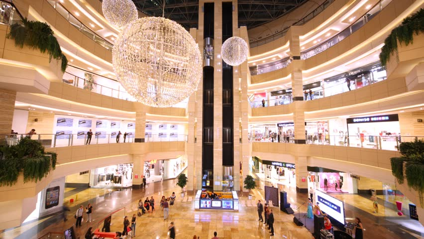 MOSCOW - SEP 7 (TIME LAPSE): People walk and are engaged in purchases in AfiMall City shopping centre, on September 7, 2011 in Moscow, Russia. AFIMALL CITY is a shopping and entertainment center, located in the core of Moscow City - the largest and most a