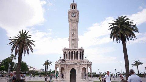 Izmir clock tower time lapse video.