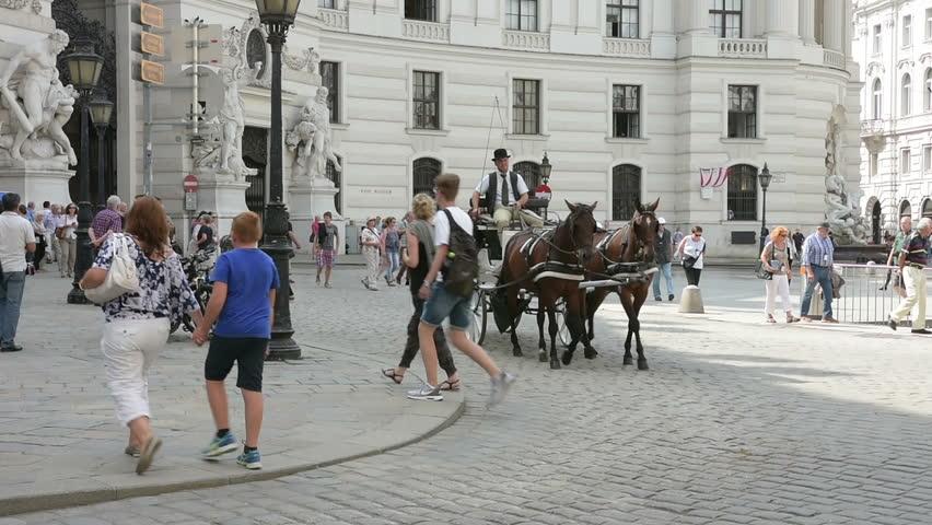 August 16, 2016,    carriage horses in Michaelerplatz in Vienna