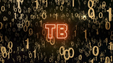 Seamless looping animation with the word TB composed into falling golden binary code