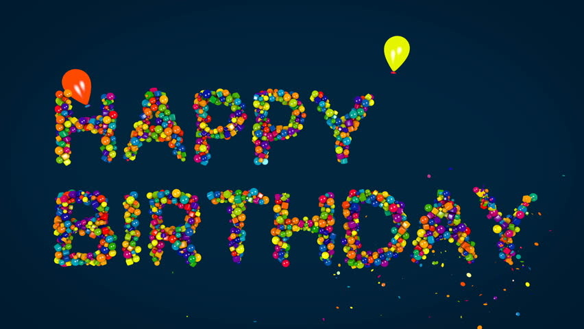Happy Birthday, 3d Animation. Birthday Background With