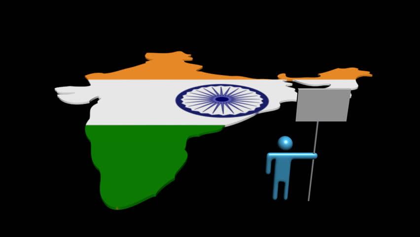India Flag Black: India Map Flag Rotating On Black Animation Stock Footage