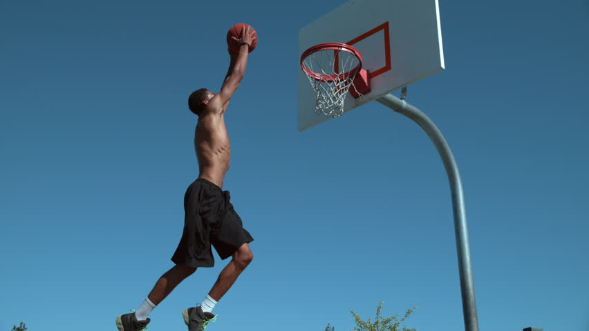 Super slow motion shot of basketball basketball slam dunk, shot on Phantom Flex 4K | Shutterstock HD Video #19000270