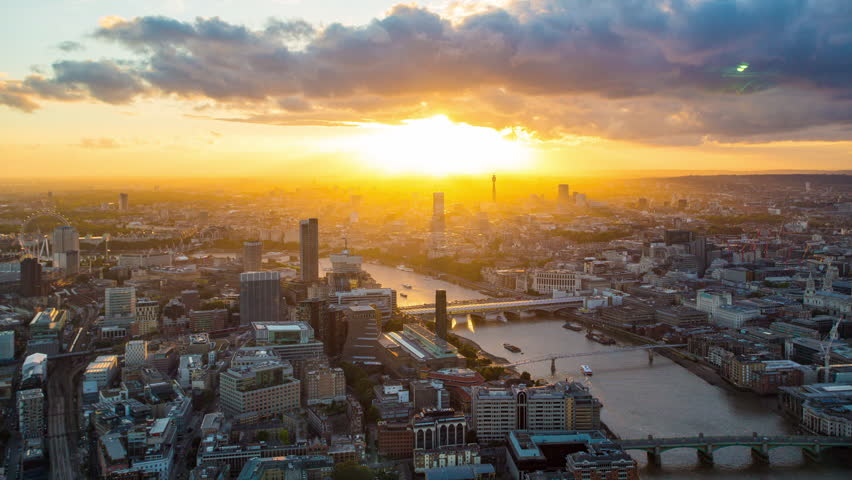 London city skyline sunset time lapse