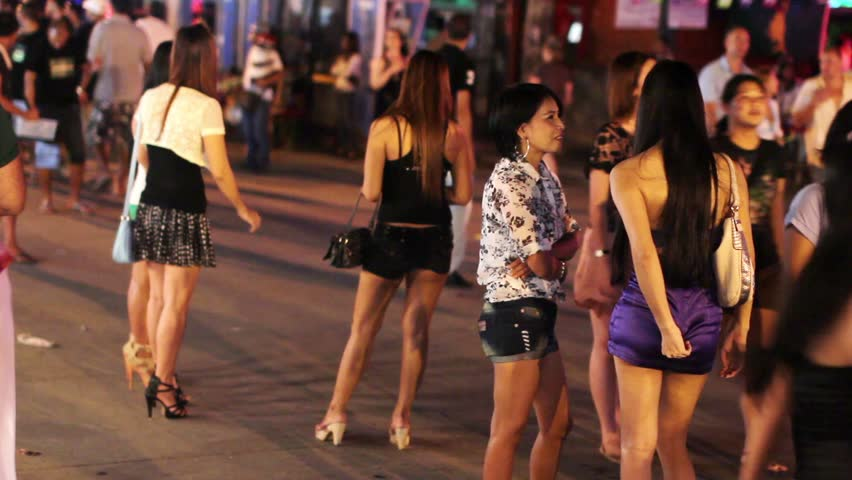 Prostitutes Are Waiting For Costumer In Patong, Phuket, Thailand Stock Footage Video -2928