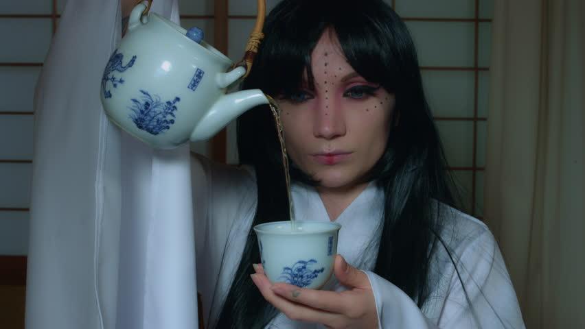 4k Anime Shot of a Japanese Woman Geisha Serving Traditional Tea, close-up | Shutterstock HD Video #19030582