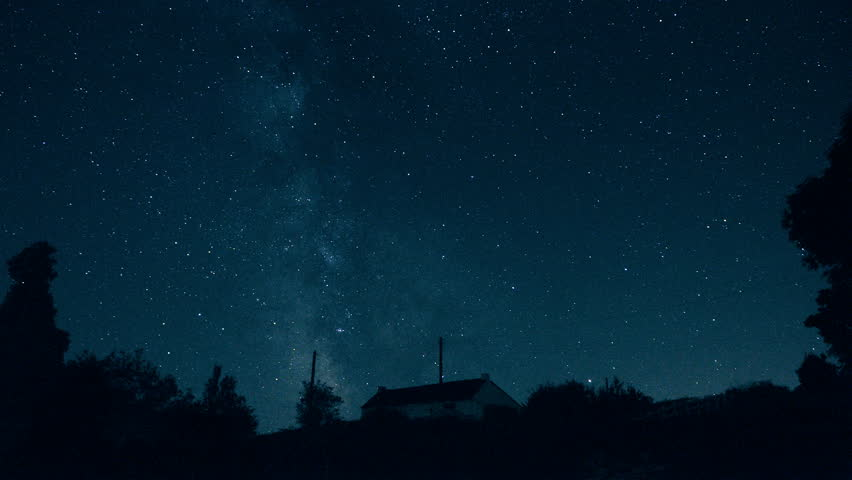 Stars and the Milky Way moving in the sky - Starry night sky in timelapse - ISS flashes at 2