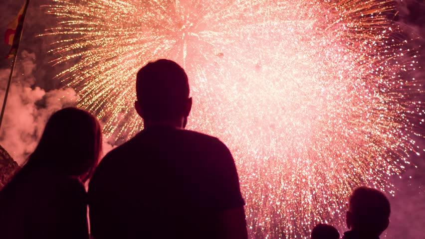 Man And Woman Silhouettes Enjoying Beautiful Fireworks Show New Years Eve Fourth Of July Romantic Date Anniversary Concept #19037362