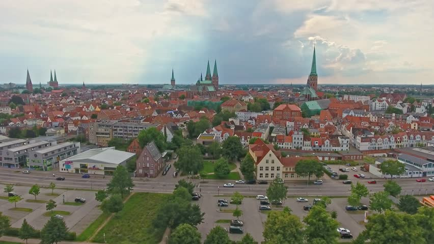 Lubeck aerial view, Germany.