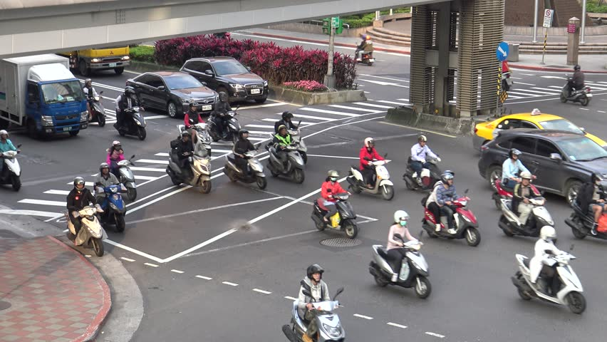 Taipei, Taiwan-07 March, 2016: 4K Aerial Traffic Cars, Motorbikes and