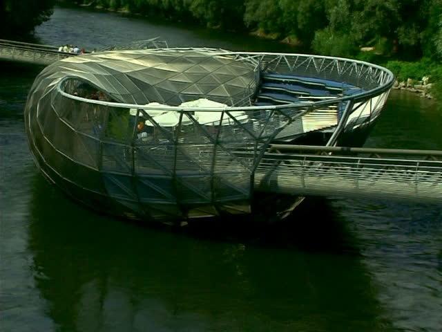 Modern Architecture Videos graz, austria - august 14: modern architecture on the river mura
