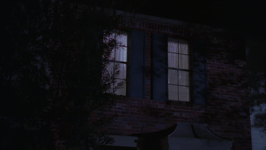 Night Up angle Tight window nice brick 2 story townhouse, shutters Light | Shutterstock HD Video #19168072